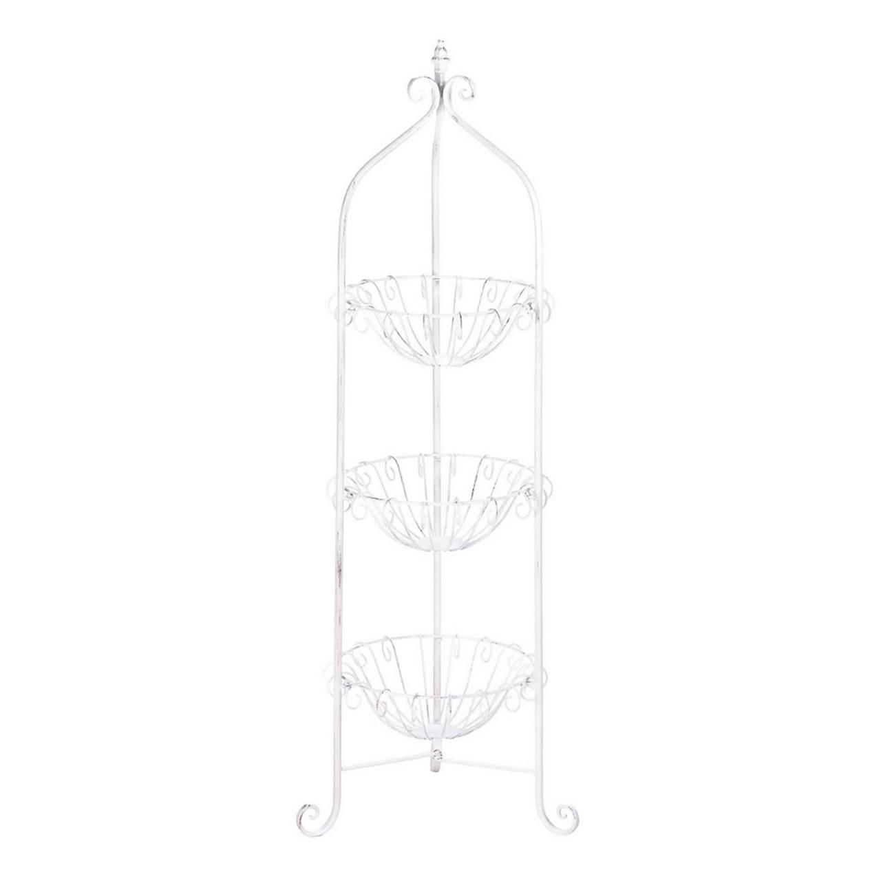 White Corner Metal Basket Stand