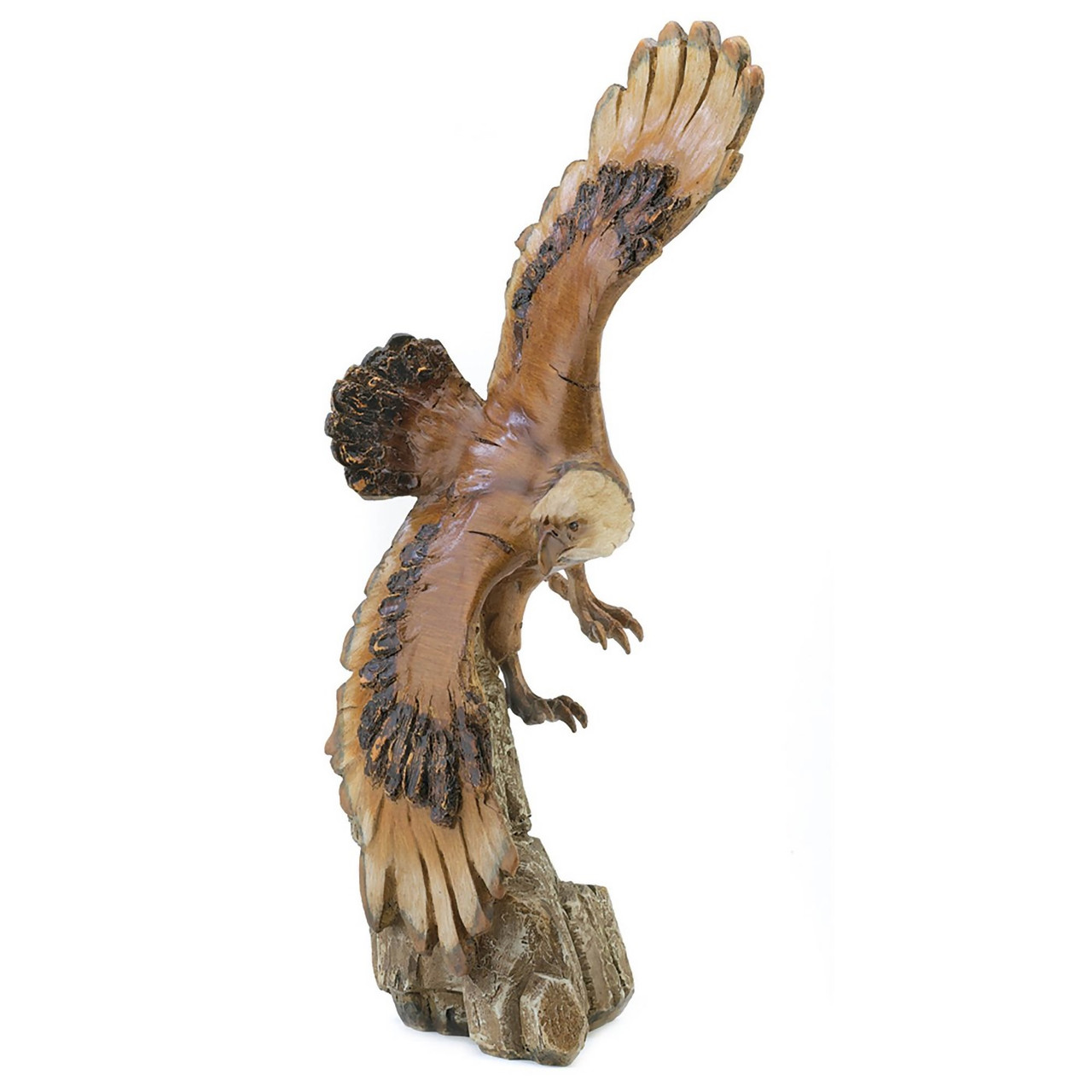 Soaring Eagle Carved Wood Look Statue