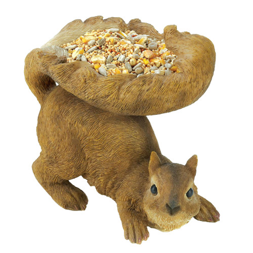 Woodland Squirrel Statue with Tail Bird Feeder