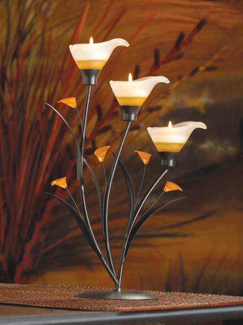 Amber Lilies Iron Tea Light Holder