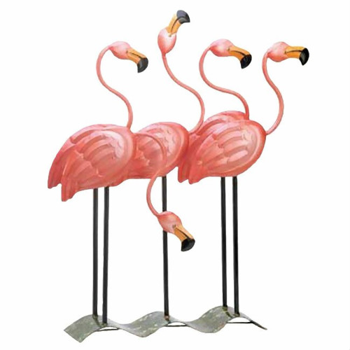 Flock of Pink Flamingos Metal Garden Art Statue