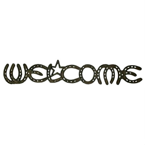 Western Horseshoe Welcome Cast Iron Wall Plaque