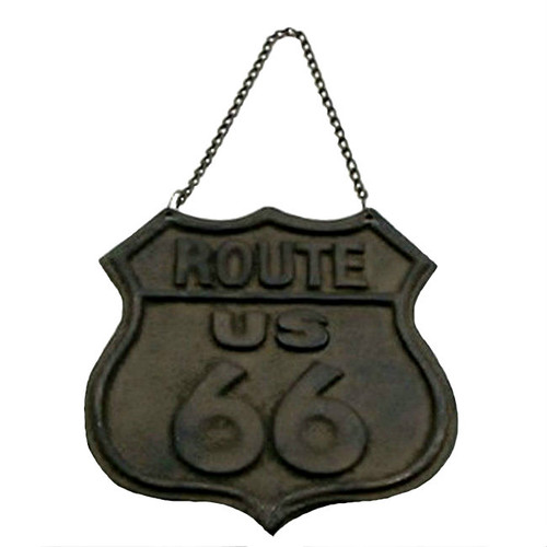 Route 66 Cast Iron Hanging Wall Sign