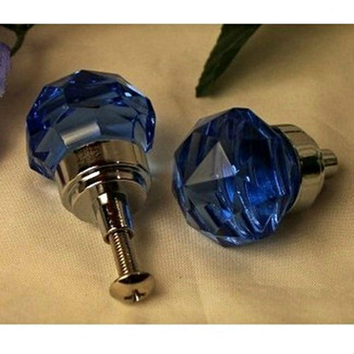 Small Clear Cobalt Blue Faceted Solid Glass Drawer Pull Knob