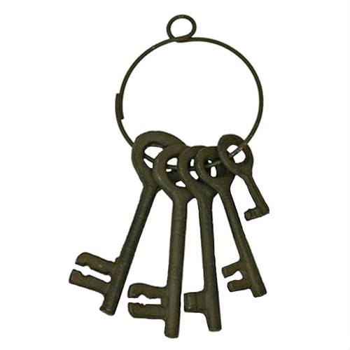 Five Cast Iron Jailer Keys On Ring Wall Plaque Set of 2