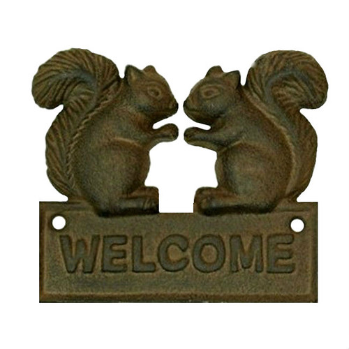 Squirrel Cast Iron Welcome Wall Plaque