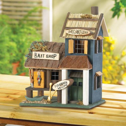 Bass Lake Lodge Wood Birdhouse