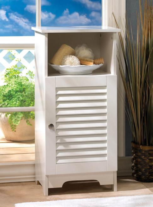 Nantucket Wood Three Shelf Storage Cabinet