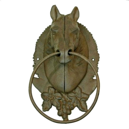 Horse Head Cast Iron Towel Ring Holders - Set of 2