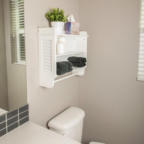 Nantucket White Bathroom Wall Shelf with Towel Bar