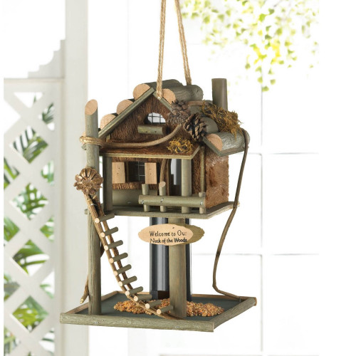 Welcome Tree House Wood Bird Feeder