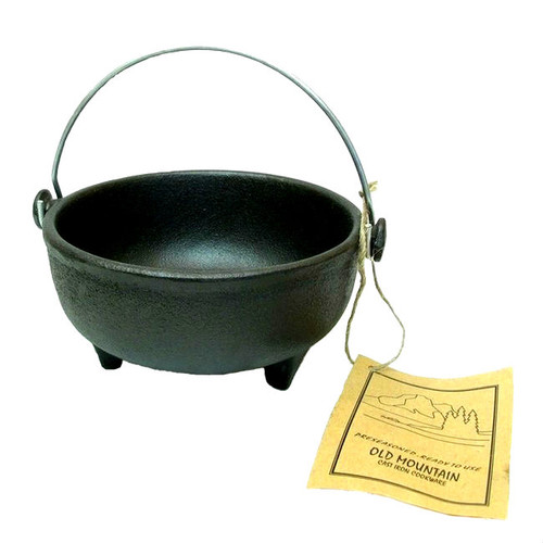 Old Mountain Cast Iron Footed Kettle with Wire Handle