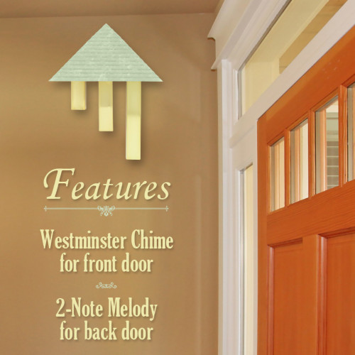 Wireless Pyramid Door Chime with Amber Brass Tubes