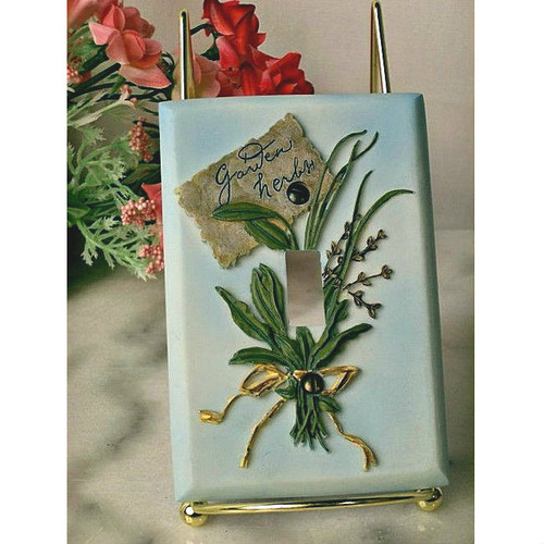 Garden Herbs Stone Resin Single Light Switch Plate Cover