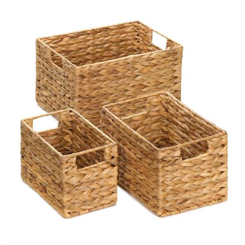 Trio of Rectangular Hyacinth Straw Nesting Baskets