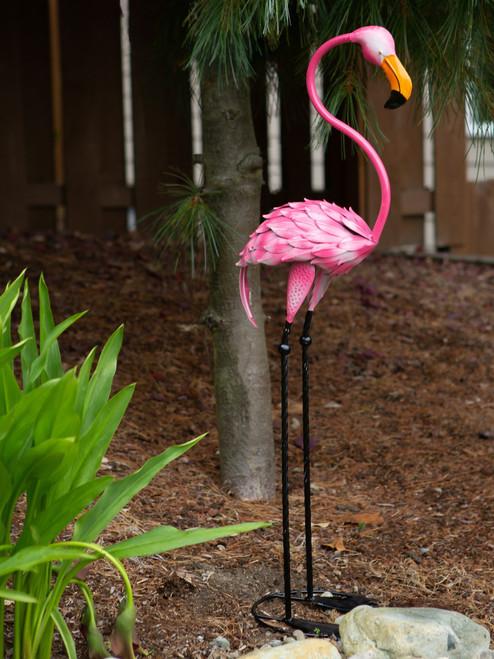 Tropical Pink Flamingo Metal Garden Statue