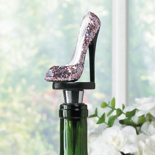 Sparkling Pink Stiletto Heel Shoe Wine Bottle Stopper