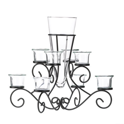 Scrollwork Eight Candle Stand with Center Vase