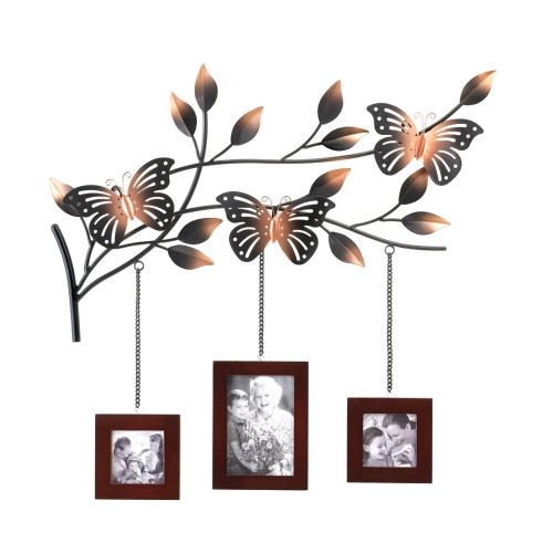 Butterfly with Trio of Picture Frames Wall Decor