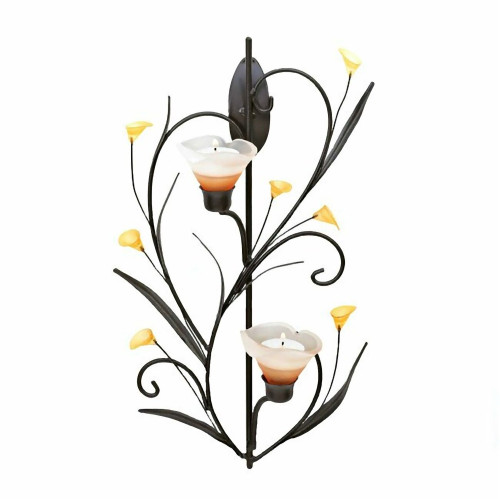 Amber Lilies Two Candle Wall Sconce