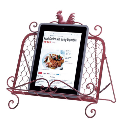 Country Rooster Red Iron Cookbook and Tablet Stand