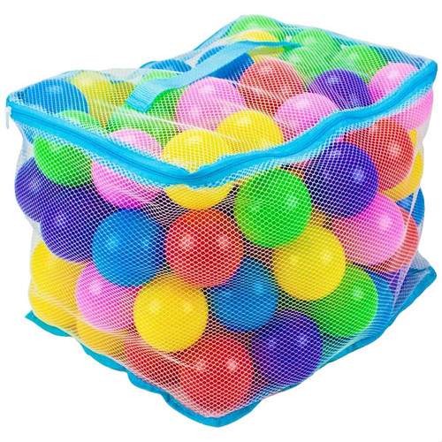 "100 Multi Colored 3"" Soft Pit Balls in Mesh Bag"