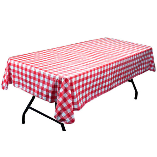 Red and White Vinyl Flannel Backed Table Cloth