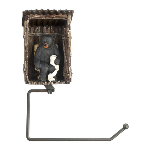 Black Bear Outhouse Toilet Paper Holder