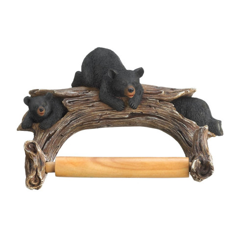 Log with Trio of Black Bears Toilet Paper Holder