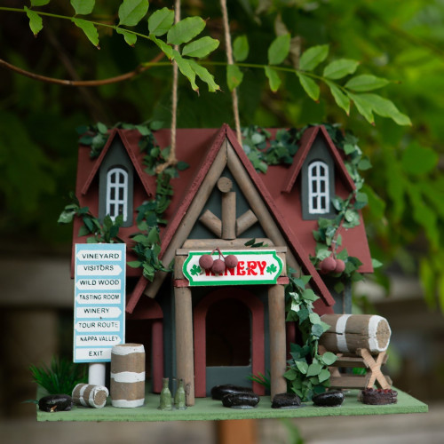 Cottage Winery Wood Bird House