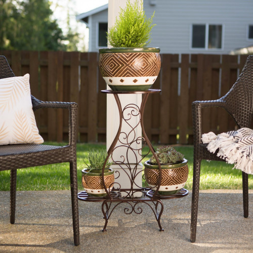 Brown Hourglass Iron Plant Stand with Three Shelves