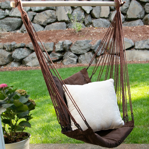 Espresso Brown Swing Chair with Padded Cushion