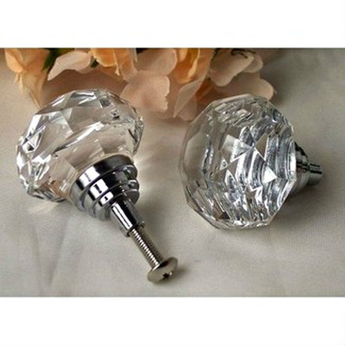Large Crystal Clear Faceted Glass Drawer Pull Knob