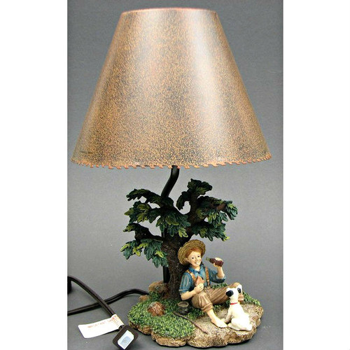 Boy Fishing and Drinking a Classic Coke Accent Table Lamp with Shade