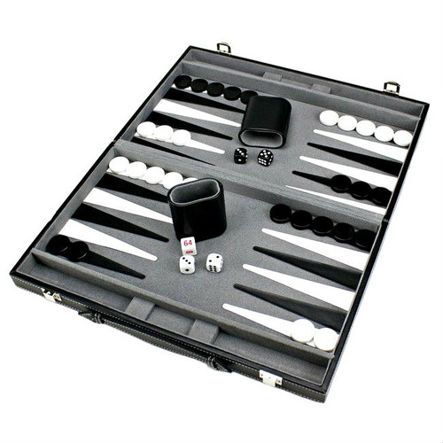 Backgammon Game Set in Black Leatherette Case