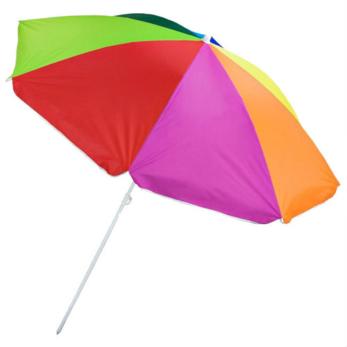Rainbow Color 6' Polyester Beach Umbrella with Plastic Pole