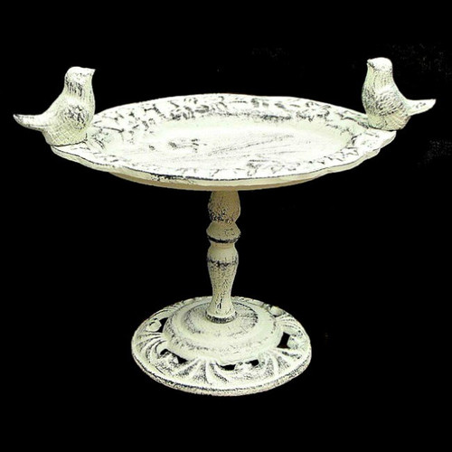 Antique White Cast Iron Bird Bath on Pedestal Stand