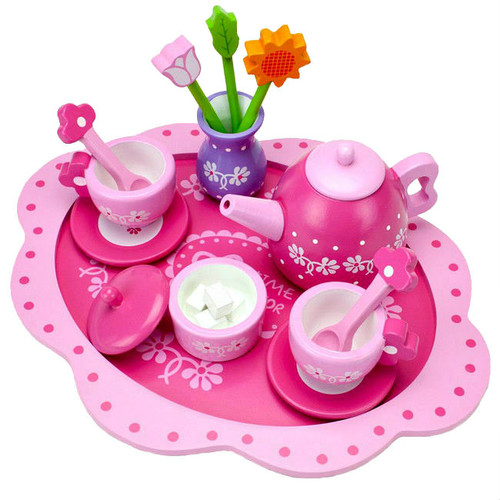 Pink Blossoms Natural Wood 16 Piece Tea Set For Two