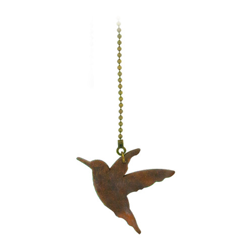 Old Chicago Finish Metal Pull Chain with Wood Hummingbird
