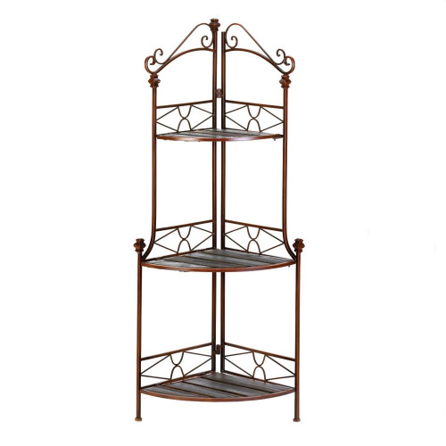 Metal Corner Bakers Rack with Three Wood Shelves