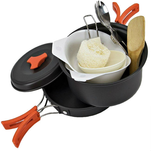 10 Piece Anodized Aluminum Nonstick Camping Cookware Mess Kit For One