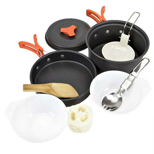 Camping Nonstick Cookware 10 Piece Aluminum Mess Kit For One