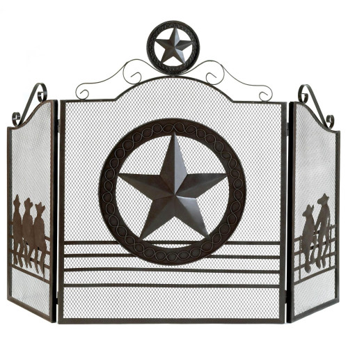 Western Lone Star Three Panel Gate Style Fireplace Screen