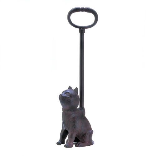 Kitty Cat Cast Iron Door Stop with Long Tail Handle