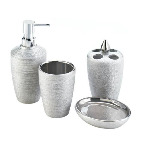 Silver Shimmer Porcelain Four Piece Bath Accessory Set