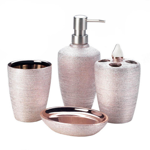 Golden Rose Shimmer Porcelain Four Piece Bath Accessory Set