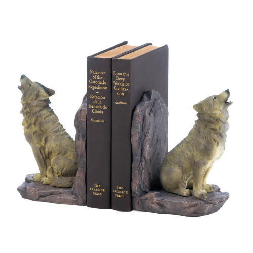 Wolf Howling At The Moon Bookends