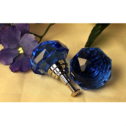 Large Light Cobalt Blue Faceted Glass Drawer Pull Knob