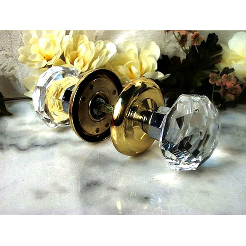 Crystal Clear Faceted Solid Glass Door Knob