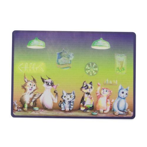 The Regulars Cat Placemat with Matching Stainless Steel Feeding Bowls